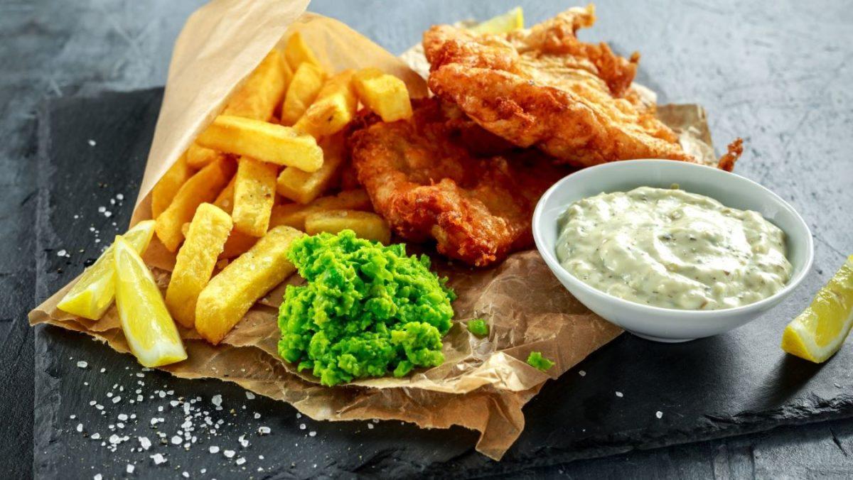 British fish and chips with mushy peas and tartare sauce