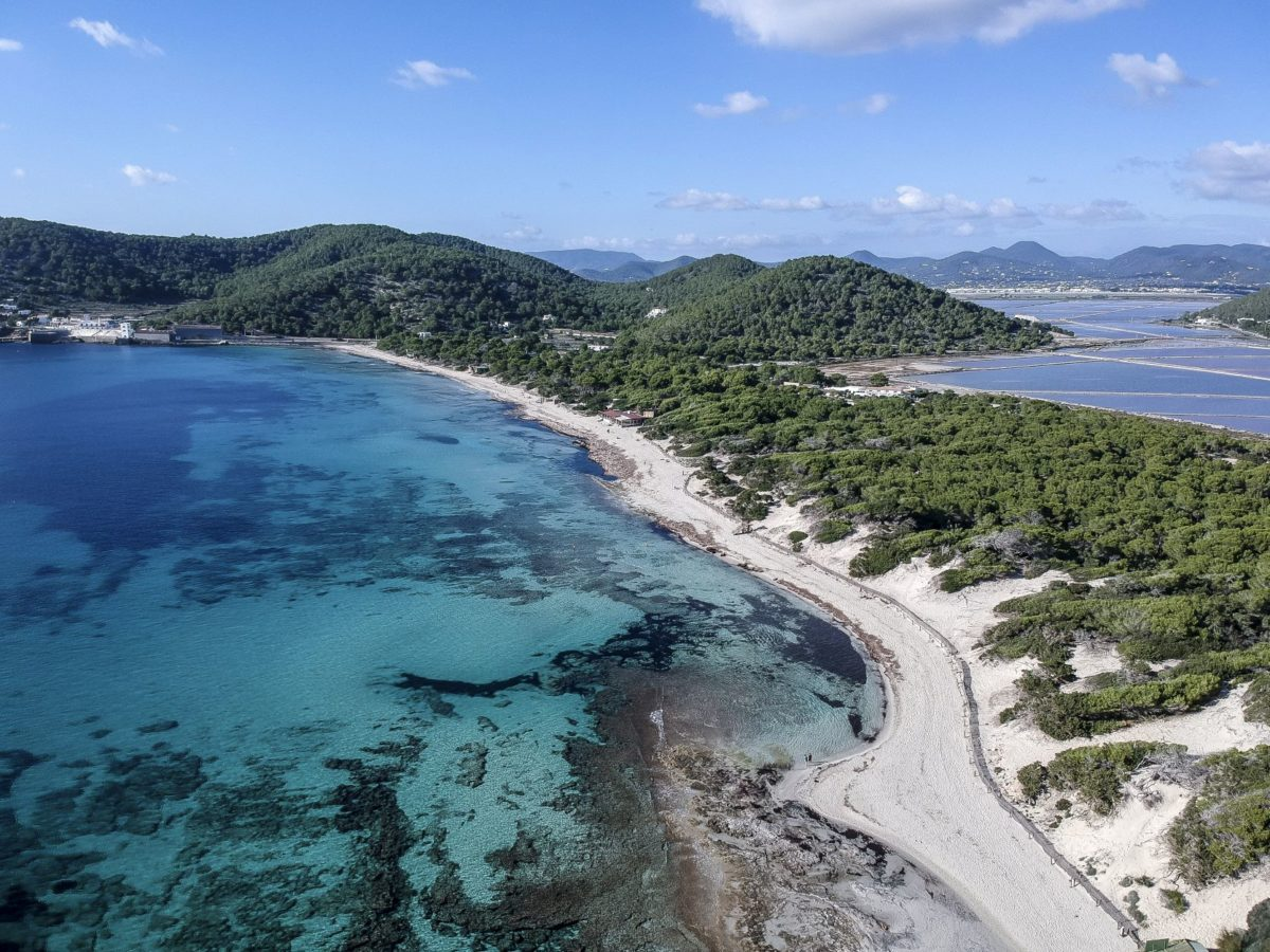 Aerial view of Ses Salines Beach in Ibiza